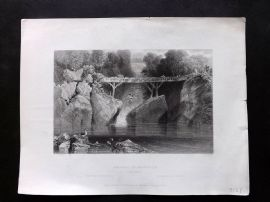 Bartlett America C1840 Print. Bridge at Norwich, Connecticut